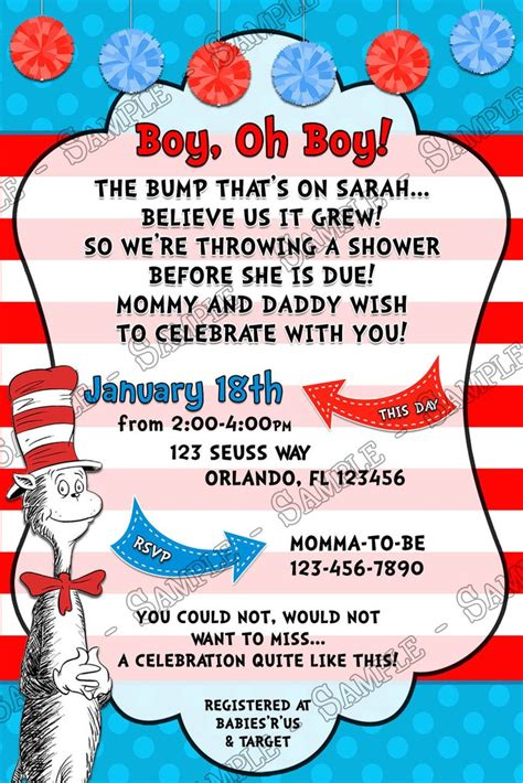 Cat In The Hat Baby Shower Invitations by Novel Concept Designs Boy Oh Boy The Cat In The Hat
