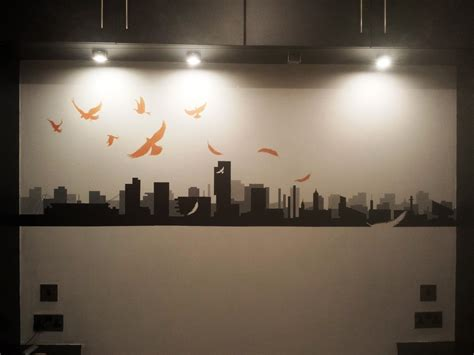wall ls for bedrooms manchester skyline painting on my bedroom wall by