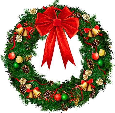 transparent christmas wreath with red bow png picture