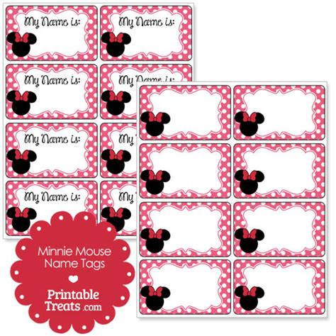 Printable Minnie Mouse Name Tags | pink minnie mouse name tags printable treats com