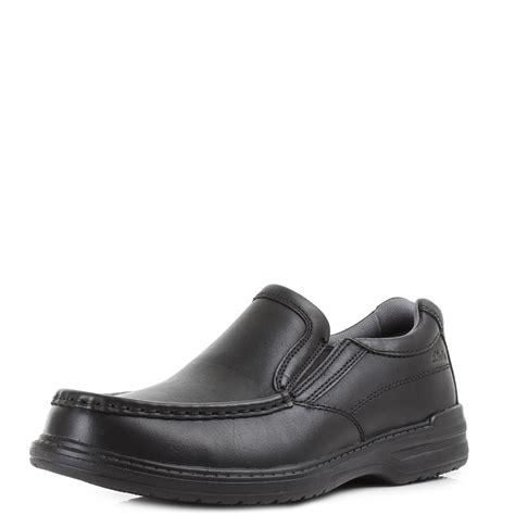 mens clarks keeler step black leather slip on formal wide