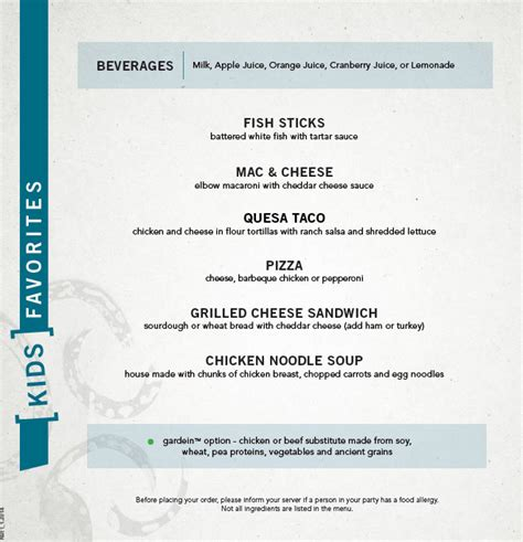 yard house palisades reved kids menu at yard house at palisades center