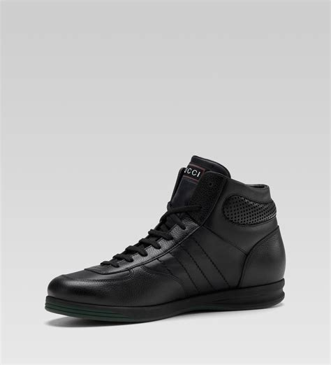 mens black sneakers gucci hi top lace up sneaker black leather sneaker