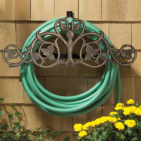 foliate wall mounted hose holder eclectic outdoor