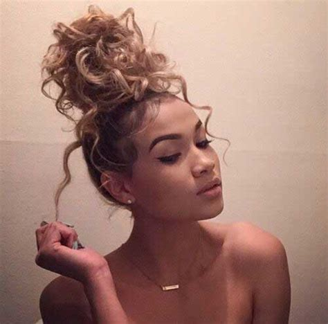 hairstyles with buns and curls chic curly bun hairstyles long hairstyles 2016 2017