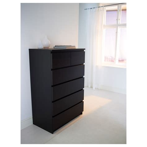 black brown chest of drawers malm chest of 6 drawers black brown 80x123 cm ikea