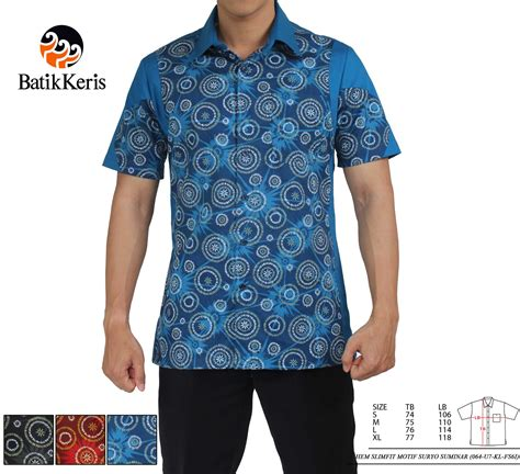Kemeja Batik Slimfit Lengan Pendek 37 hem batik slimfit lengan pendek motif suryo suminar