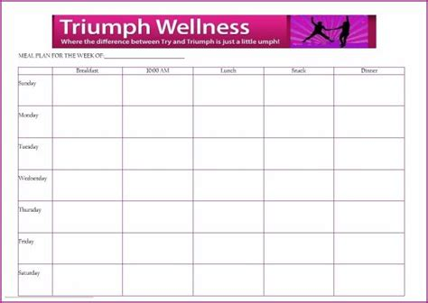 blank meal planner with snacks free meal planning template triumph wellness fuhrman