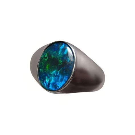black opal mens ring solitaire black opal ring men green blue oval flashopal