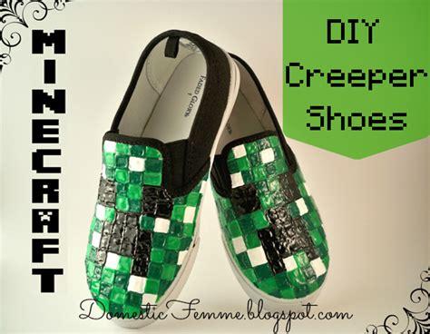 diy creeper shoes domestic femme minecraft creeper shoes