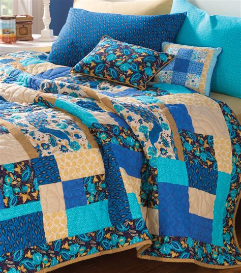 Peacock Blue Quilt by Craftdrawer Crafts Free Quilting Pattern Of The Day