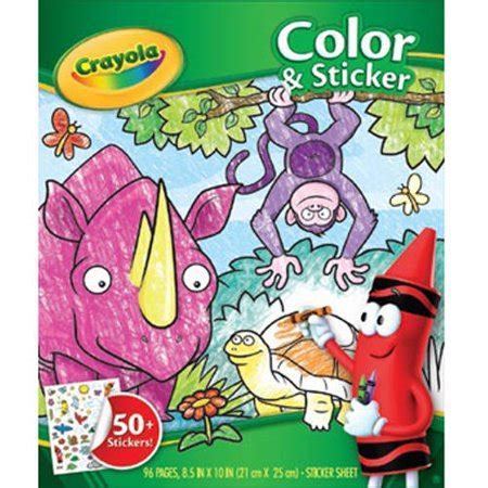 walmart coloring books crayola coloring book with 50 stickers jungle animals