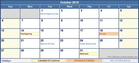 Calendar 2019 October October 2019 Canada Calendar With Holidays For Printing