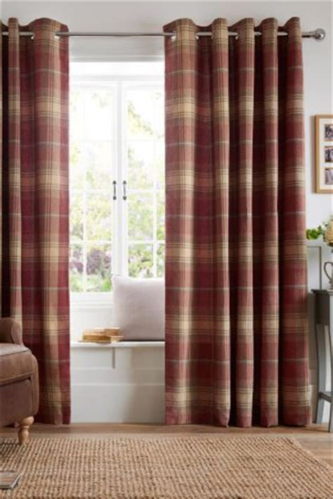 next red check curtains buy thermal red woven check stirling eyelet curtains from