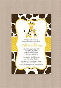 yellow giraffe baby shower invitations