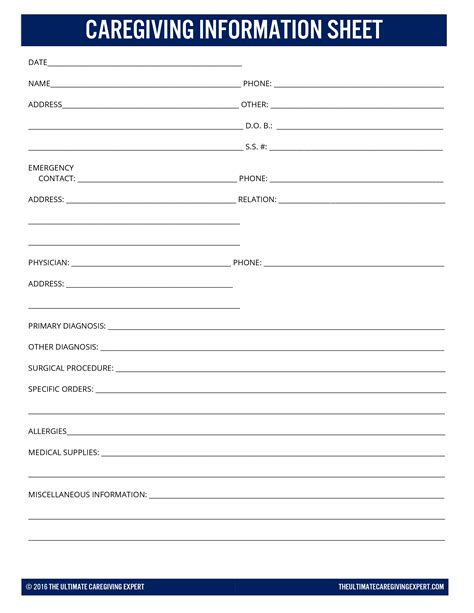 caregiving information sheet answers to your caregiving