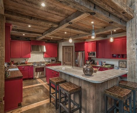 Kitchens With Concrete Countertops - reclaimed wood beams