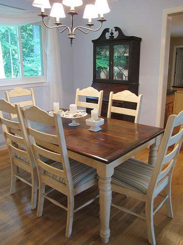 Refinish Dining Room Table The White Cottage Dining Room Table Honey Pine Table Refinished With A Walnut Top And