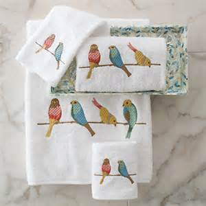 bird bath towels birds of a feather embroidered towels gump s