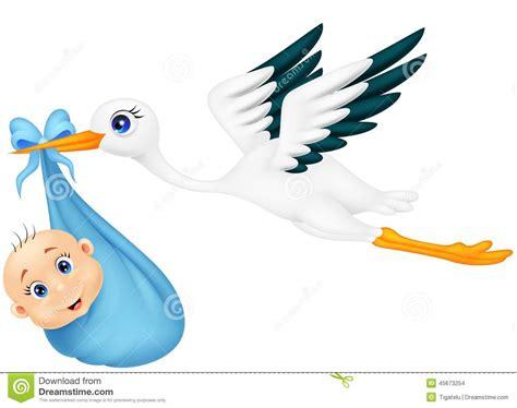 clipart neonati cicogna con il neonato illustrazione vettoriale immagine