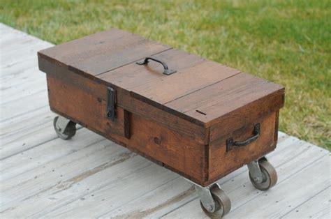 vintage repurposed carpenters box coffee table wood