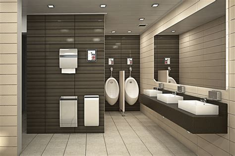 modern office bathroom toilet room at an office building design by dana shaked
