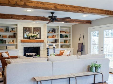 wood beams in living room fixer a fresh update for a 1962 quot shingle shack quot fireplaces built ins and exposed wood