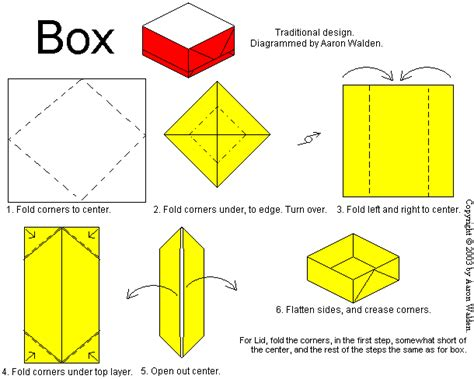 How To Make A Box Out Of Origami - box origami diagram and lid origami