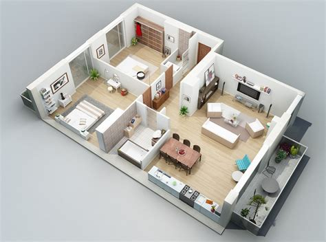two bedroom apartment apartment designs shown with rendered 3d floor plans