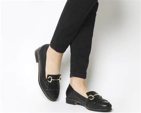 Stud Loafers office fright stud loafers black leather flats