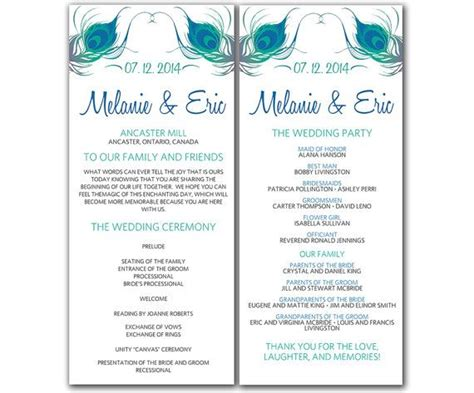 template for wedding ceremony program diy peacock wedding program microsoft word template