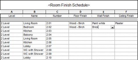 Bim Tree Chimpanzee Room Finish Material Schedule Quantities In Revit 174 Agacad Tools4bim Room Finish Schedule Template