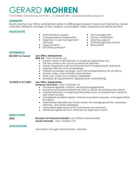 excellent resume format for office administrator best office administrator resume exle livecareer
