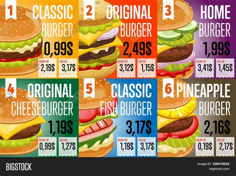 Fast Food Menu Card Templates by Fast Food Restaurant Menu Template Vector Photo Bigstock