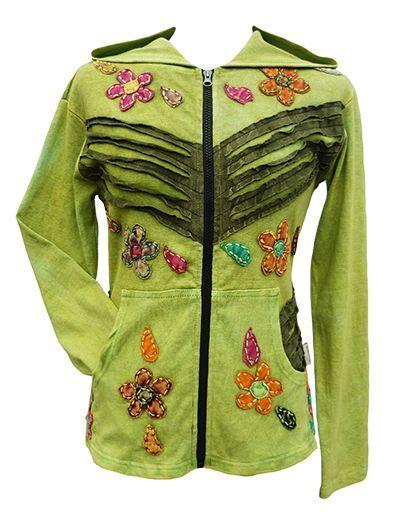 Applique Hooded Zip Jacket cut and applique flower jacket at black yak
