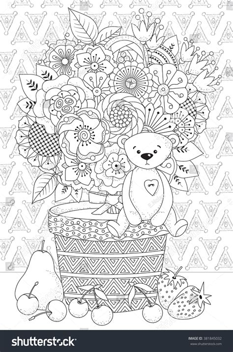 teddy bear coloring pages for adults coloring book adult older children coloring stock vector