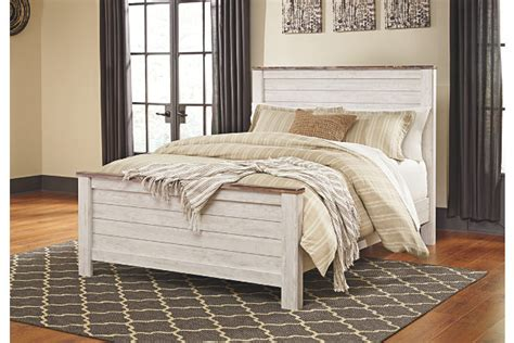whitewash headboard willowton queen panel bed ashley furniture homestore
