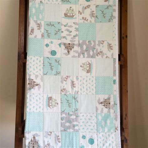 Handmade Baby Boy Quilts - baby cot quilt aqua white baby boy handmade