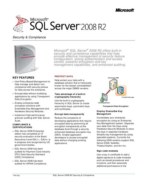 sql server 2008 r2 security datasheet