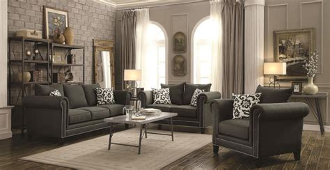 charcoal room emerson charcoal living room set from coaster 504911 coleman furniture