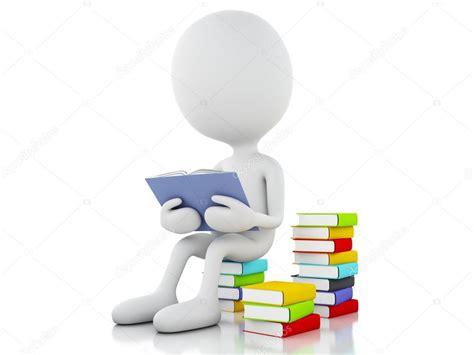 imagenes 3d lineas blancas 3d personas blancas leyendo un libro sobre fondo blanco