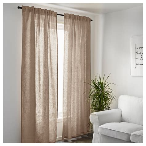 beige linen curtains aina curtains 1 pair beige 145x250 cm ikea