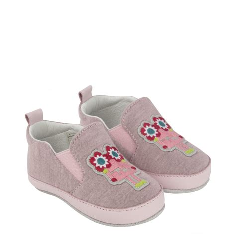 fendi baby pink slip on shoes with flower and