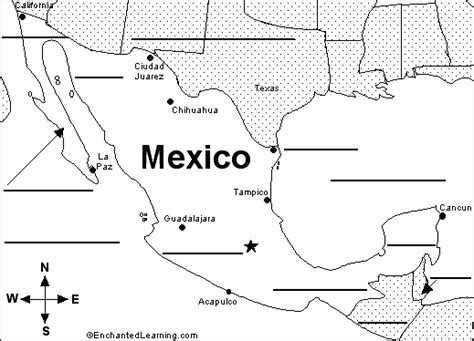 printable mexico map label the map of mexico printout enchantedlearning