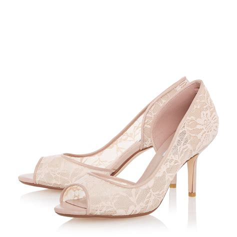 dune dellarose semi d orsay lace court shoes in pink lyst