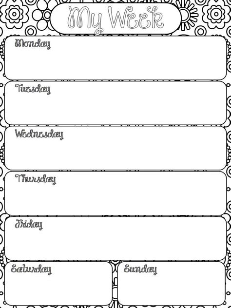 weekly planner printable black and white free printable happily hope