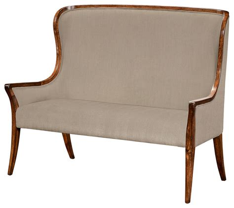 high back settee upholstered jonathan charles fine furniture jonathan charles high