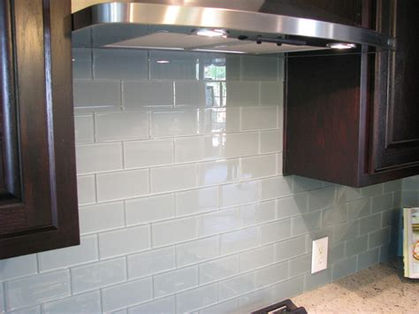 glass tile backsplash kitchen contemporary with glossy