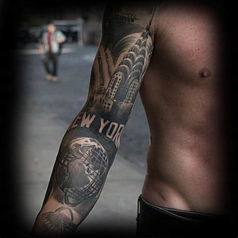 60 New York Skyline Tattoo Designs For Men Big Apple Ink Tattoos Nyc