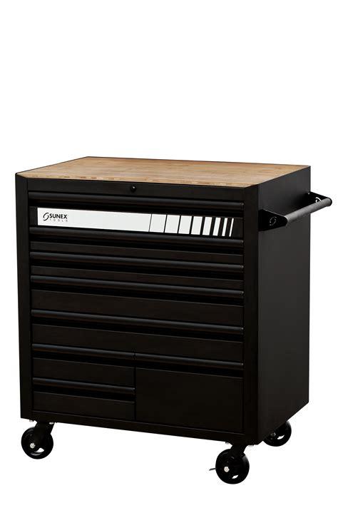black 8 drawer service car